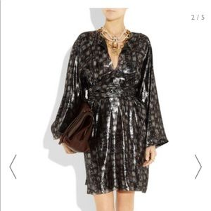 LANVIN Silk Lamé Dress M